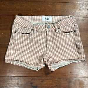 Paige Houndstooth Denim Shorts